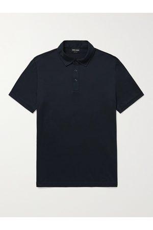 GIORGIO ARMANI Men Polo Shirts - Slim-Fit Mélange Silk and Cotton-Blend Polo Shirt
