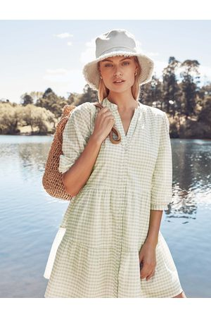 Forever New Women's Gina Gingham Smock Dress in Gingham, Size 10 Cotton/Polyester/Viscose