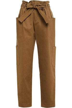 REDVALENTINO Woman Belted Pleated Stretch-cotton Twill Tapered Pants Army Size 38