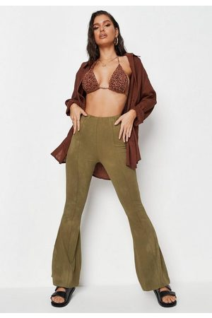 Missguided Olive Wash Seam Front Flared Trousers, Kahki