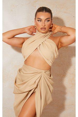 PRETTYLITTLETHING Women Halterneck Tops - Beige Linen Feel Pleated Halter Bralet