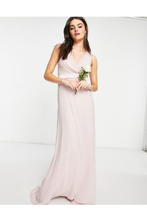 TFNC Bridesmaid plunge front bow back maxi dress in mink