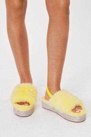 NASTY GAL Womens Animal Fluffy Diamante Flatform Slippers