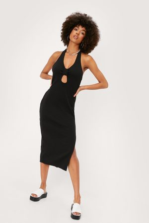 NASTY GAL Womens Knot Front Ribbed Midi Bodycon Dress