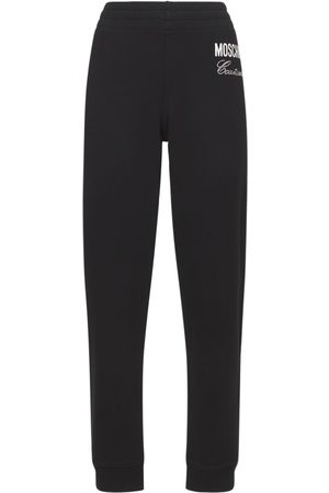 MOSCHINO Embellished Cotton Jersey Track Pants
