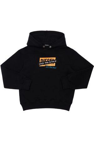 Diesel Boys Sweatshirts - Logo Print Cotton Sweatshirt Hoodie