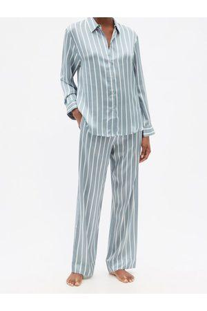 Asceno London Striped Sandwashed-silk Pyjama Bottoms - Womens - Stripe