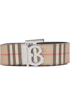 Burberry Men Belts - Reversible monogram-plaque checked belt - Neutrals