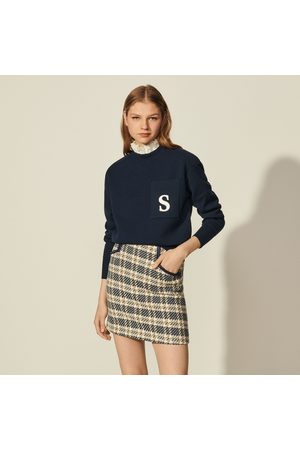 Sandro Sweater with contrasting ruffled collar
