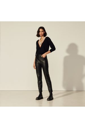 Sandro Straight leather trousers with seaming