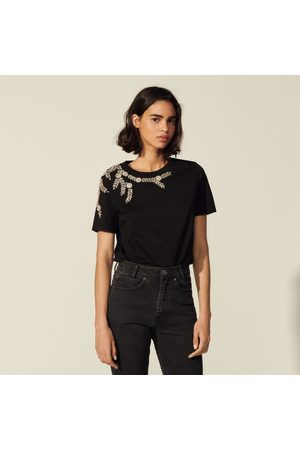Sandro T-shirt with embroidery and rhinestones