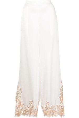 Kiki de Montparnasse Women Trousers - Orchid silk palazzo trousers
