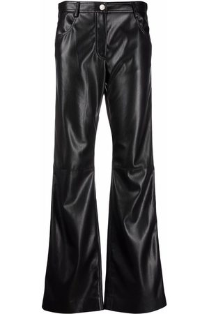 MSGM Women Leather Trousers - Flared faux-leather trousers