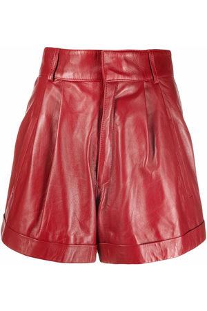 Manokhi Pleat-detail leather shorts