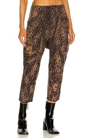 R13 Bleached Harem Cargo Pant in Bleached Leopard