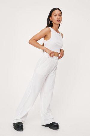NASTY GAL Womens Petite Contrast Stitch Wide Leg trousers