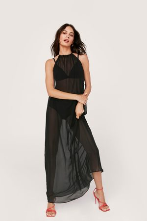 NASTY GAL Womens Chiffon Ruched Halter Maxi Beach Cover Up Dress