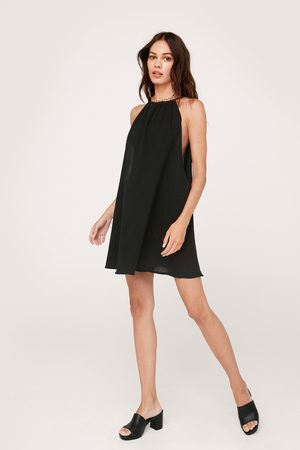 NASTY GAL Womens Crinkle Ruched Halter Mini Beach Cover Up Dress