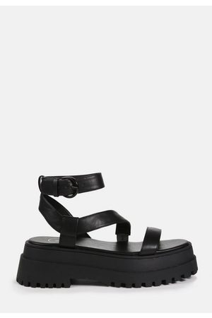Missguided Faux Leather Chunky Sole Cross Strap Sandals