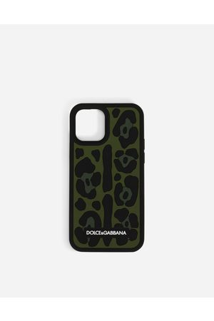 Dolce & Gabbana Men Phones - Technology - Rubber iPhone 12 Pro cover with leopard print against a green background male OneSize