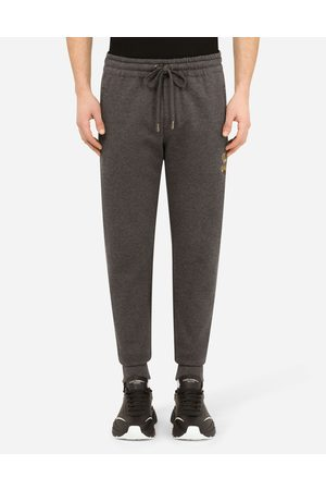 Dolce & Gabbana Trousers and Shorts - Jersey jogging pants with embroidery male 42