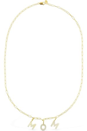 Maria Black Mom Lettering Pearl Necklace