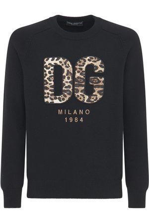 Dolce & Gabbana Dg Leopard Logo Wool Knit Sweater
