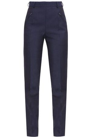 Maison Margiela Women Formal Trousers - Four-stitches Wool-blend Fresco Slim-leg Trousers - Womens - Navy