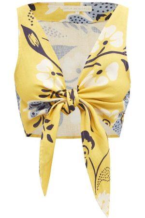 Cala De La Cruz Lola Tie-front Floral-print Top - Womens - Print