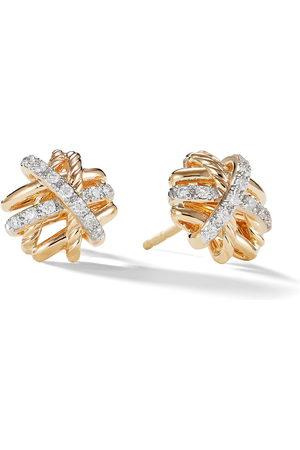 David Yurman Women Earrings - 18kt yellow Crossover diamond studs