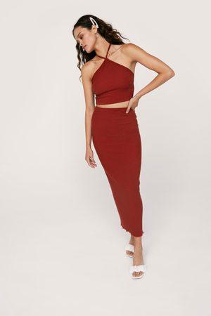NASTY GAL Women Crop Tops - Womens Ripple Rib Halterneck Crop Top And Skirt Set