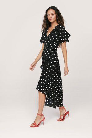 NASTY GAL Womens Angel Sleeve Polkadot Ruffle Maxi Dress