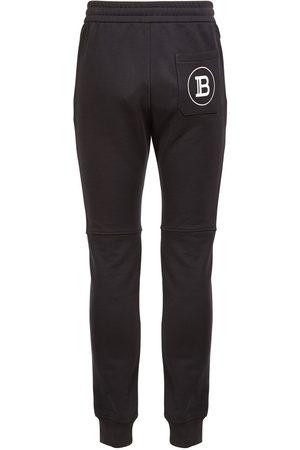 Balmain Men Trousers - Logo Print Cotton Jersey Sweatpants