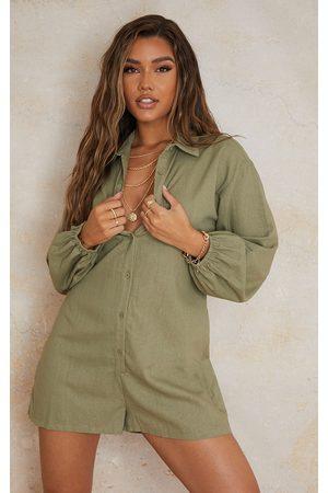 PRETTYLITTLETHING Women Long sleeves - Khaki Linen Look Oversized Long Sleeve Shirt Playsuit