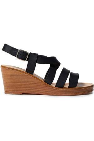A.P.C. Women Sandals - Woman Cléo Leather Wedge Sandals Size 40