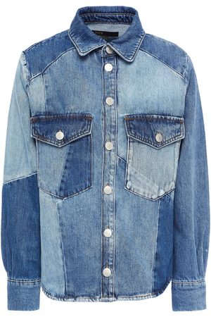 Maje Woman Cilly Patchwork-effect Faded Denim Jacket Mid Denim Size 1