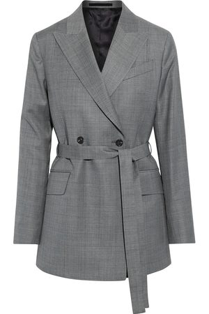 Paul Smith Woman Double-breasted Belted Checked Wool Blazer Gray Size 38
