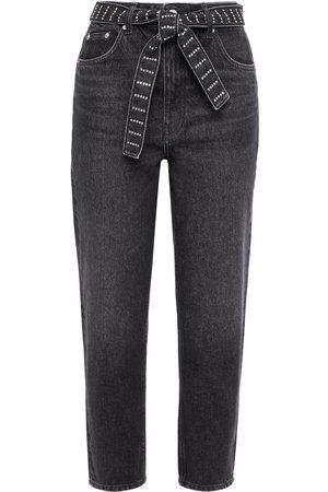 Maje Woman Crystal-embellished Belted Boyfriend Jeans Anthracite Size 34