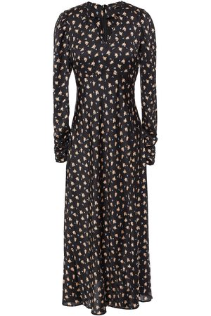 MAJE Woman Ruffle-trimmed Ruched Floral-print Satin Midi Dress Size 36