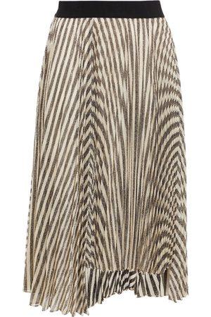 MAJE Woman Jungla Pleated Metallic Striped Knitted Skirt Size 36