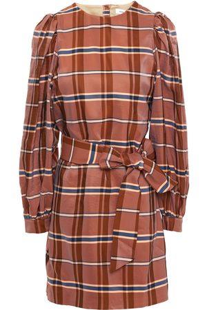 Samsøe Samsøe Samsøe Φ Samsøe Woman Belted Checked Satin-twill Mini Dress Size L