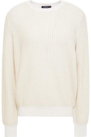 A.P.C. Woman Metallic Ribbed Merino Wool-blend Sweater Ecru Size L