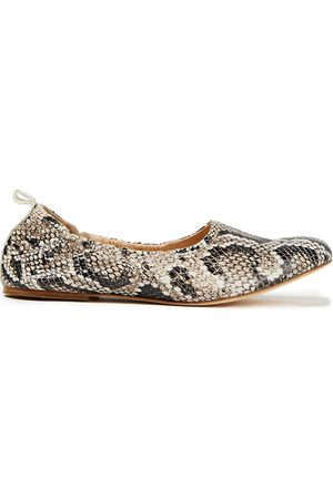 A.P.C. Woman Snake-effect Leather Ballet Flats Animal Print Size 38