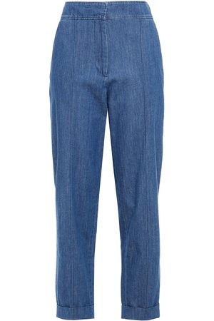 A.P.C. Woman Cropped High-rise Tapered Jeans Mid Denim Size 34