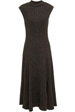 Maje Woman Rosette Metallic Ribbed-knit Midi Dress Size 34