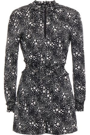 Maje Woman Ruffle-trimmed Printed Cupro-blend Playsuit Size 34