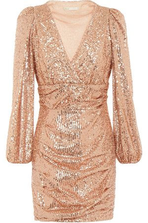 Maje Woman Wrap-effect Ruched Sequined Mesh Mini Dress Rose Size 34