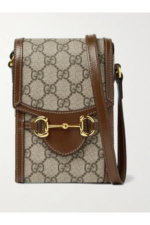 Gucci Horsebit Leather-Trimmed Monogrammed Coated-Canvas Pouch