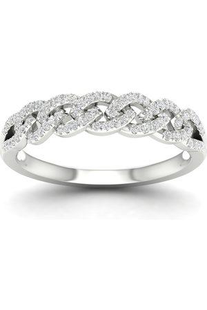 Goldsmiths Women Rings - 9ct White Gold 0.20cttw Diamond Chain Link Stacker Ring