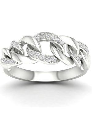 GOLDSMITHS Women Rings - 9ct White Gold 0.15cttw Alternate Link Stacker Ring